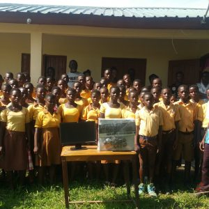 Computer and printer presented to Kobre JHS in Bono district.