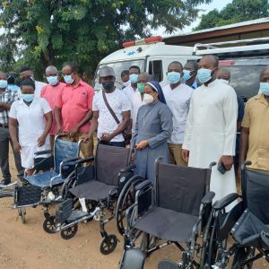 Donation of a set of wheelchairs at Mathias Hospital, Yeji, in The Pru district of Ghana